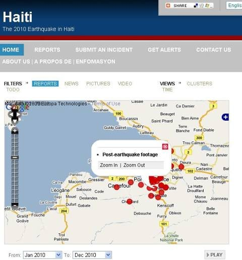 The 2010 Earthquake in Hait Map - Screen capture