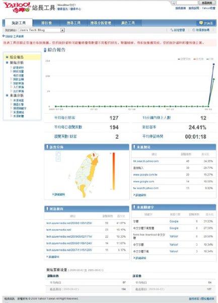 台灣雅虎站長工具中統計工具的介面